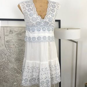 See By Chloe embroidered white and gray dress Sz 6